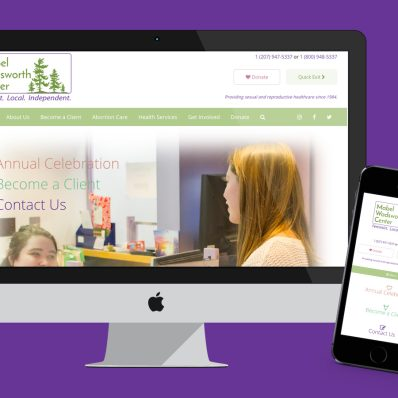Mabel Wadsworth Center website depicted on imac and iphone