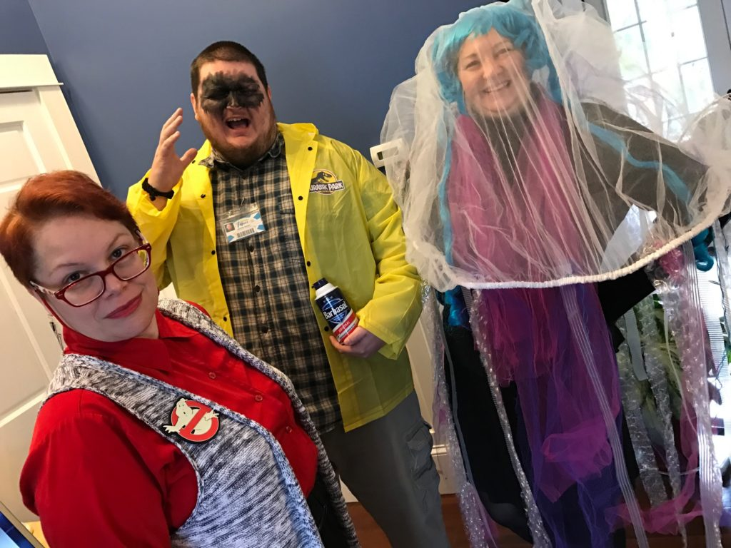 Halloween costumes at RainStorm 2016 - Ghostbuster secretary, Dennis Nedry, Jellyfish