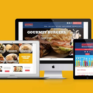 Display of Governor's Restaurant websites on a variety of devices.