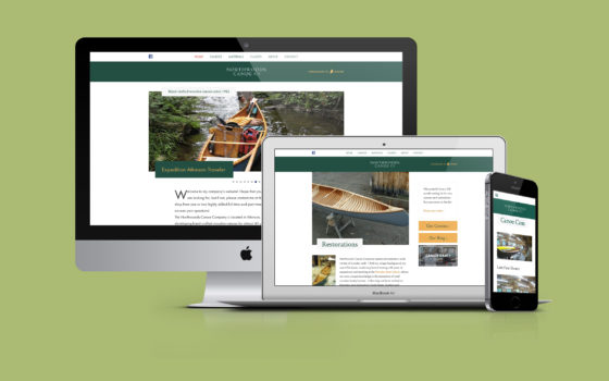 Northwoods Canoe Company website as seen on a set of devices.