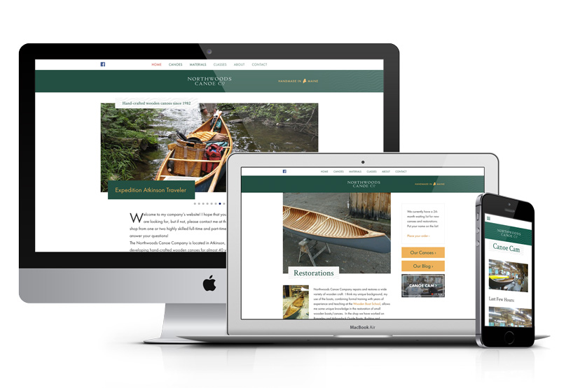 Northwoods Canoe Company new website as seen on desktop, laptop, and cell phone.