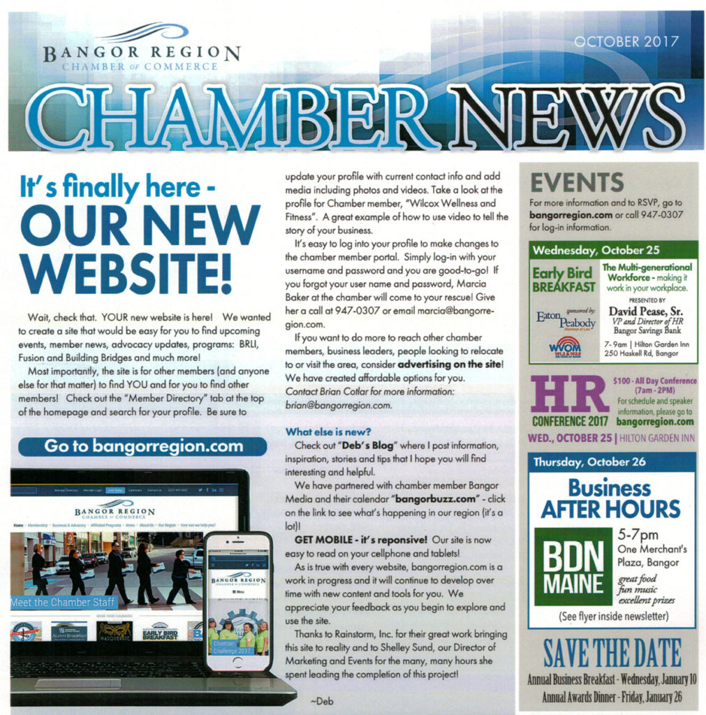 Bangor Region Chamber of Commerce newsletter image; text in article