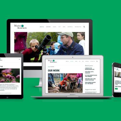 Maine Audubon website as viewed on multiple devices