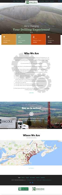 S.W. Cole Explorations Website Landing Page