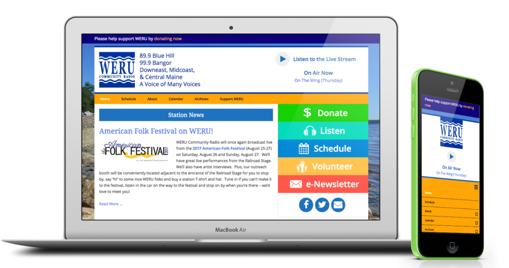 WERU Community Radio website on a laptop and phone